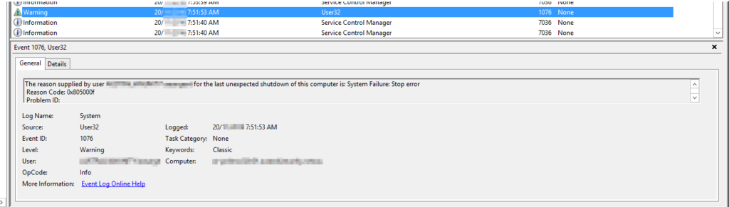 Unexpected Shutdown confirmed on node1