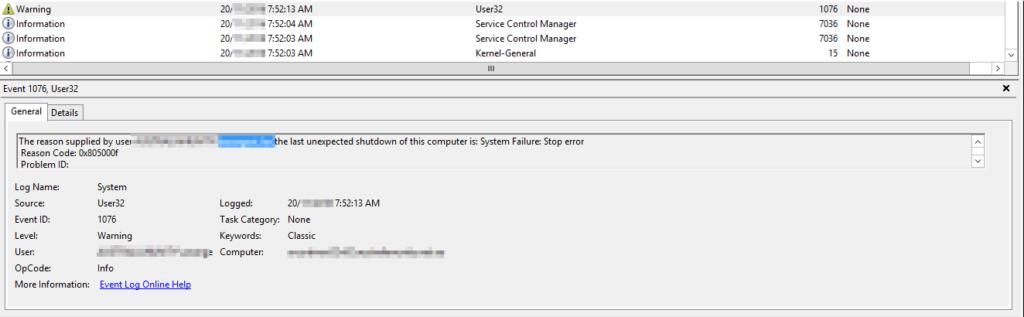 Unexpected Shutdown confirmed on node 2