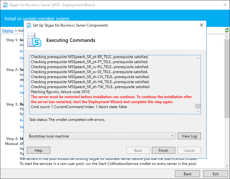 Skype for Business Server 2019 - Deployment Wizard  - Failure Code 3010