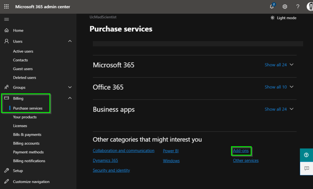 Microsoft 365 Licensing portal