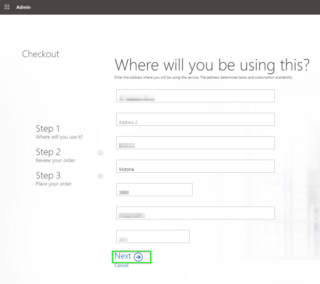 License ordering page