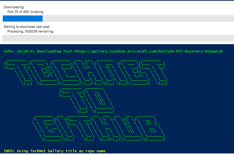 Invoke-TechNetGalleyBackup running in PowerShell ISE